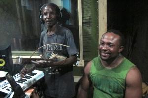 At APF Studios in Bagamoyo recording with Sauti Band.
