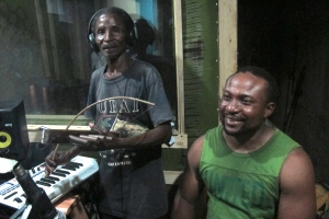 At APF Studios in Bagamoyo recording with Sauti Band.